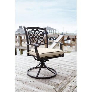 Wydra Swivel Rocker Patio Dining Chair with Cushion (Set of 2)