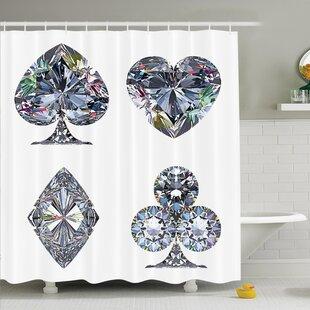 Heart Shaped Diamonds Shower Curtain Set