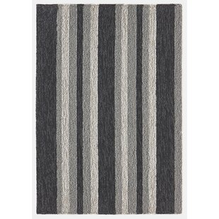 Cranford Stripe Hand-Tufted Gray/Black Indoor/Outdoor Area Rug