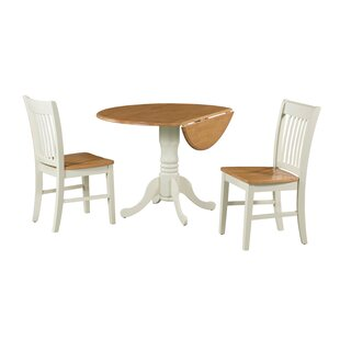 Shirk 3 Piece Drop Leaf Solid Wood Dining Set by August Grove Cheap