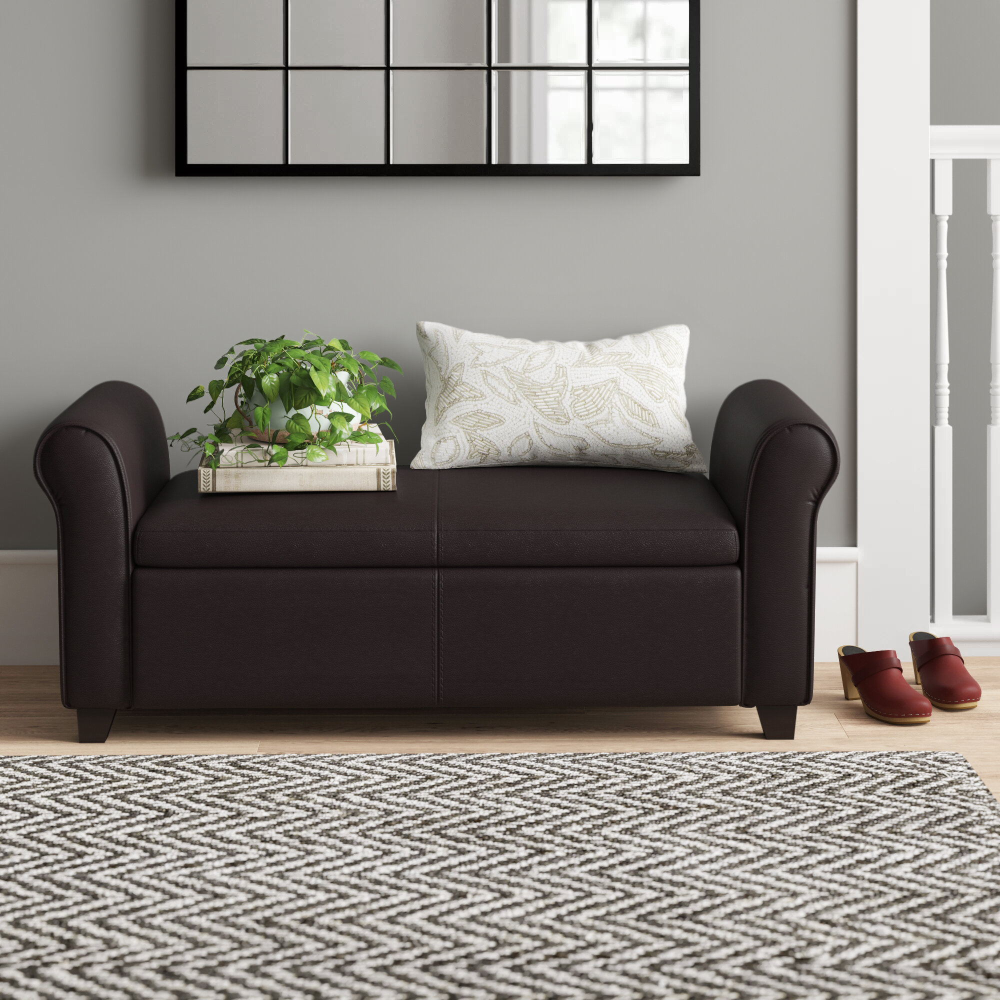 Quinnipack Faux Leather Storage Bench