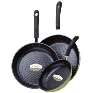 Green Earth PTFE-Free TexturedCeramic 3-Piece Non-Stick Frying Pan Set