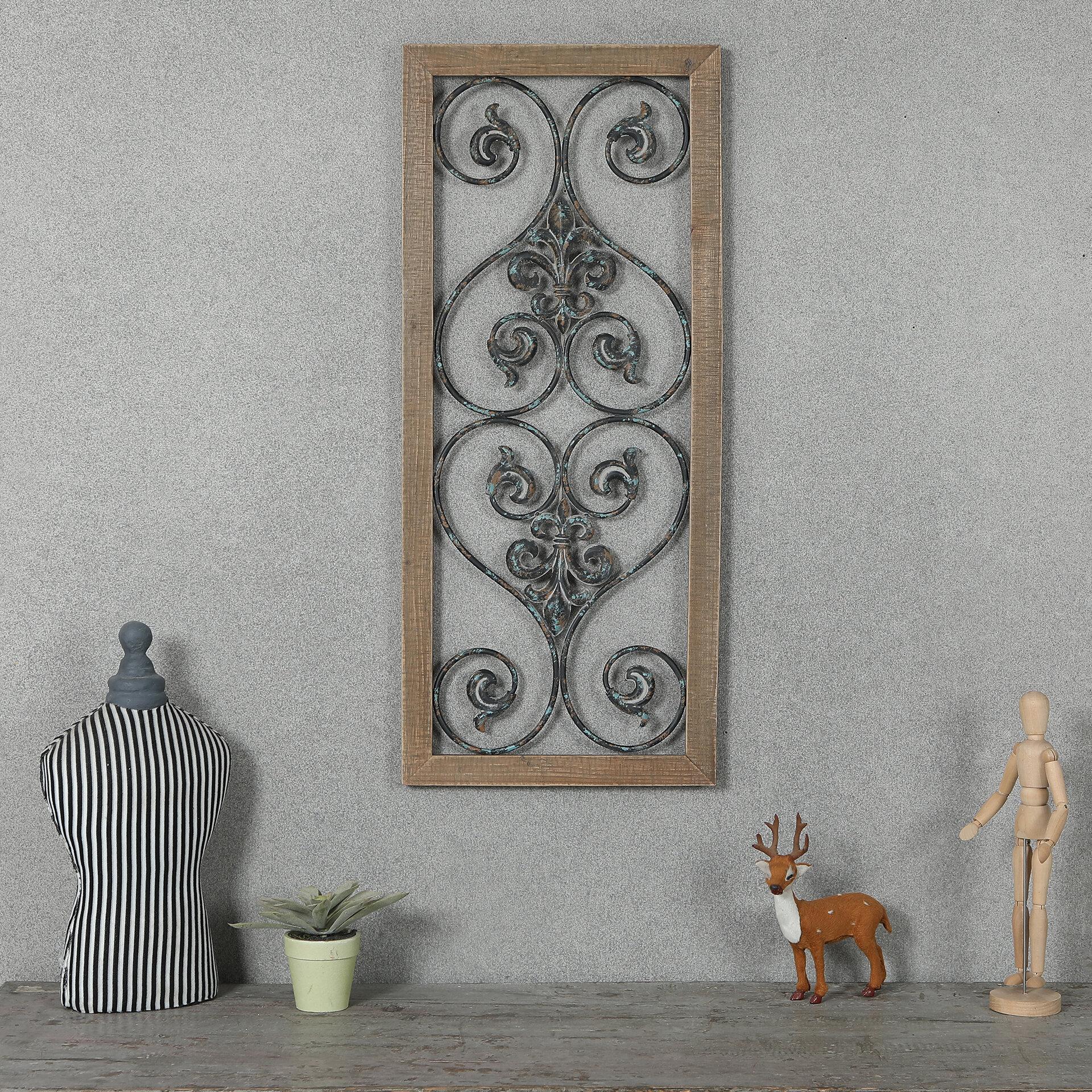 Rectangular Wood And Metal Scroll Wall Decor