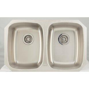 32 L x 18 W Double Basin Undermount Kitchen Sink