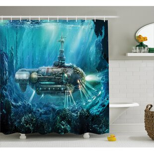 Turquoise Fantastic Submarine Shower Curtain by East Urban Home