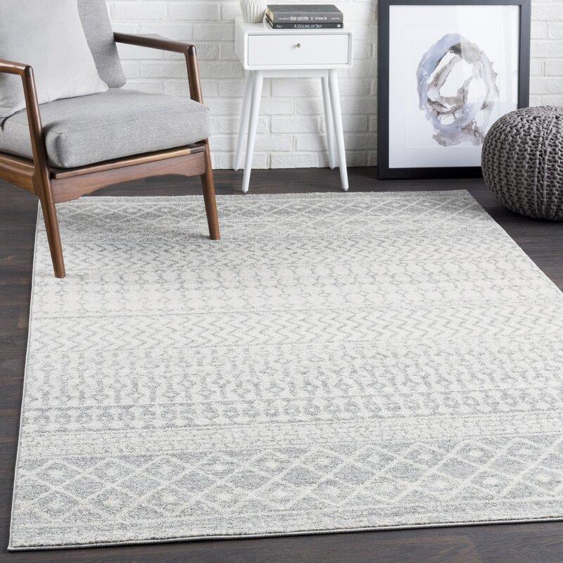 Allmodern Leonard Geometric Light Gray Medium Gray White Area Rug Reviews Wayfair