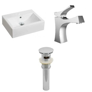 Best Choices Ceramic Rectangular Vessel Bathroom Sink with Faucet and Overflow By Royal Purple Bath Kitchen