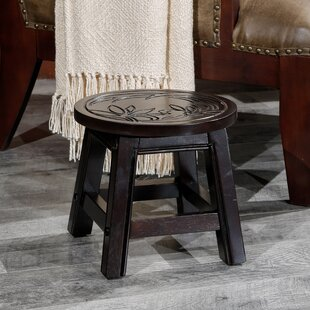Charleigh Floral Fairplay Carved Wooden Accent Stool by Bay Isle Home