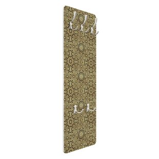 Oriental Pattern With Golden Stars Wall Mounted Coat Rack By Symple Stuff