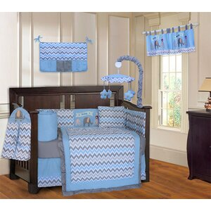 Elephant Chevron ZigZag 10 Piece Crib Bedding Set