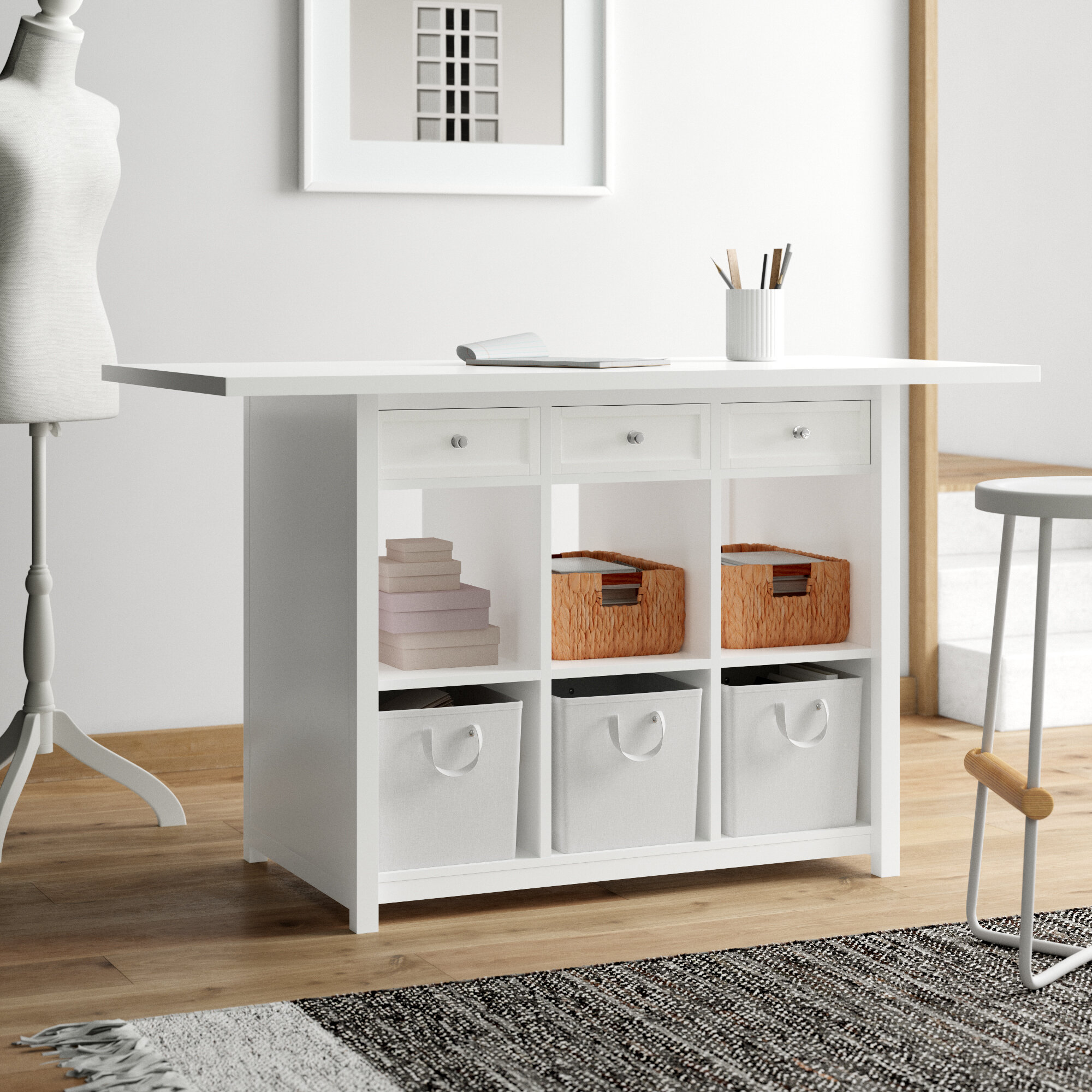 Wooden Folding Sewing Cabinet Rustic Gray Farmhouse Style Multifunction Large Sewing Craft Table With Storage Shelves And Lockable Casters Space Saving Wood Sewing Furniture For Small Spaces Sewing Cabinets Arts Crafts Sewing