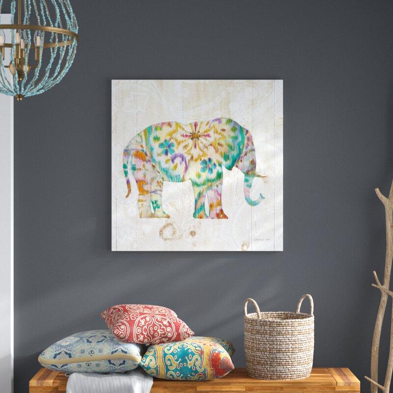 Boho Paisley Elephant I by Danhui Nai - Unframed Graphic Art on Canvas