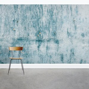 "Chipped Blue Concrete 8' x 144"" 3 Piece Wall Mural"
