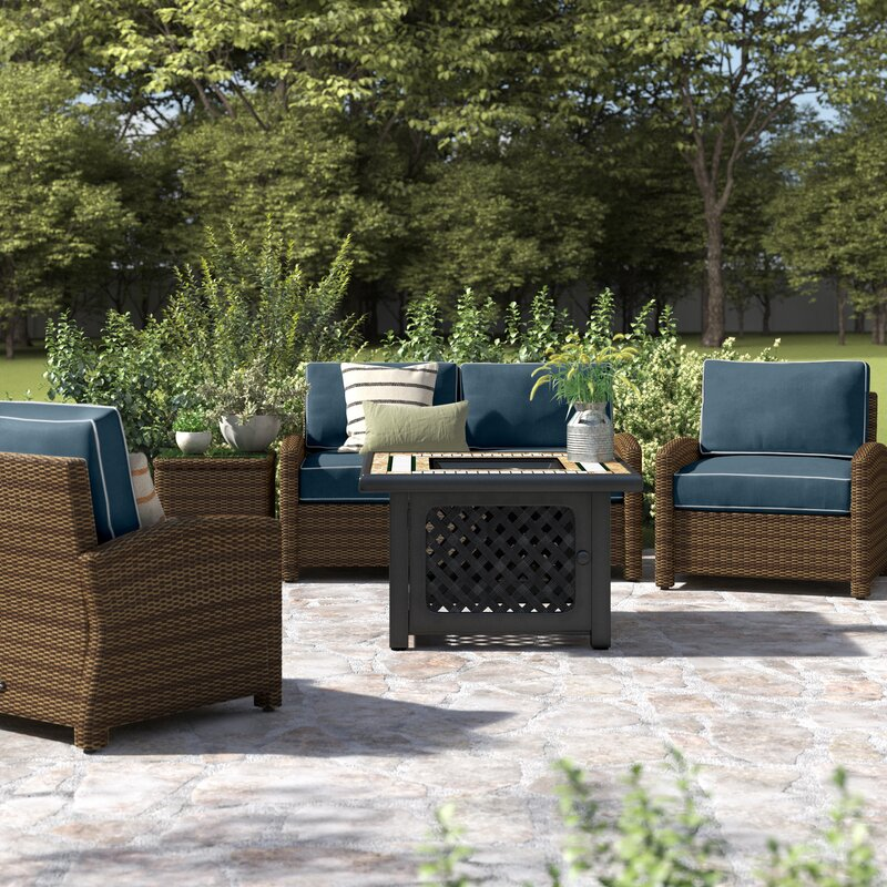 Birch Lane Lawson 5 Piece Rattan Sectional Seating Group With Cushions Reviews Wayfair