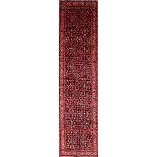 Shopping for One-of-a-Kind Lancaster Classical Hamedan Persian Traditional Hand-Knotted Runner 3'6 x 14' Wool Black/Burgundy Area Rug By Isabelline