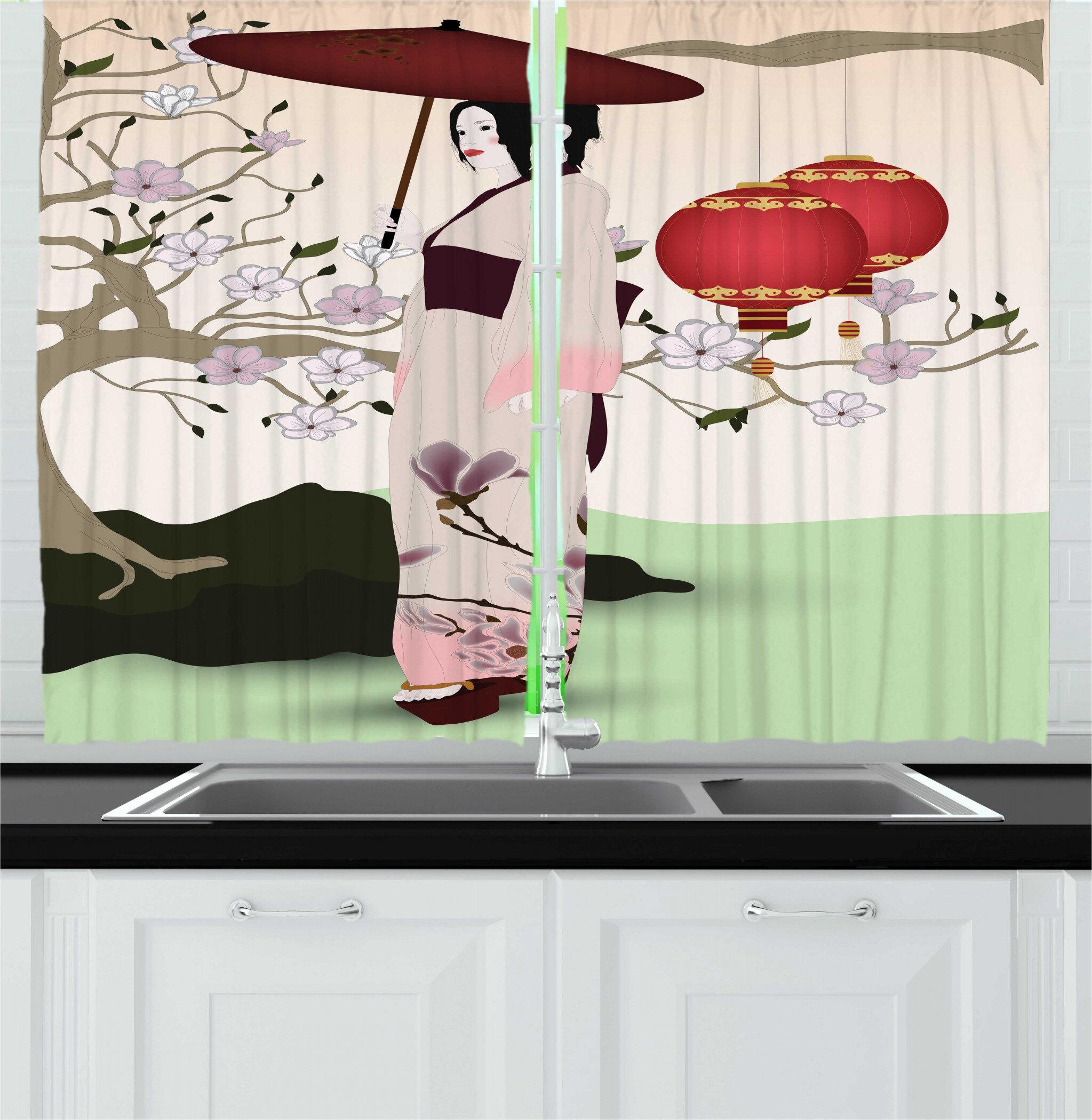 East Urban Home 2 Piece Umbrella Girl Inspired Geisha Scene With Traditional Oriental Garden Kitchen Curtain Set Wayfair
