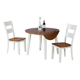 Dinh 3 Piece Drop Leaf Solid Wood Dining Set
