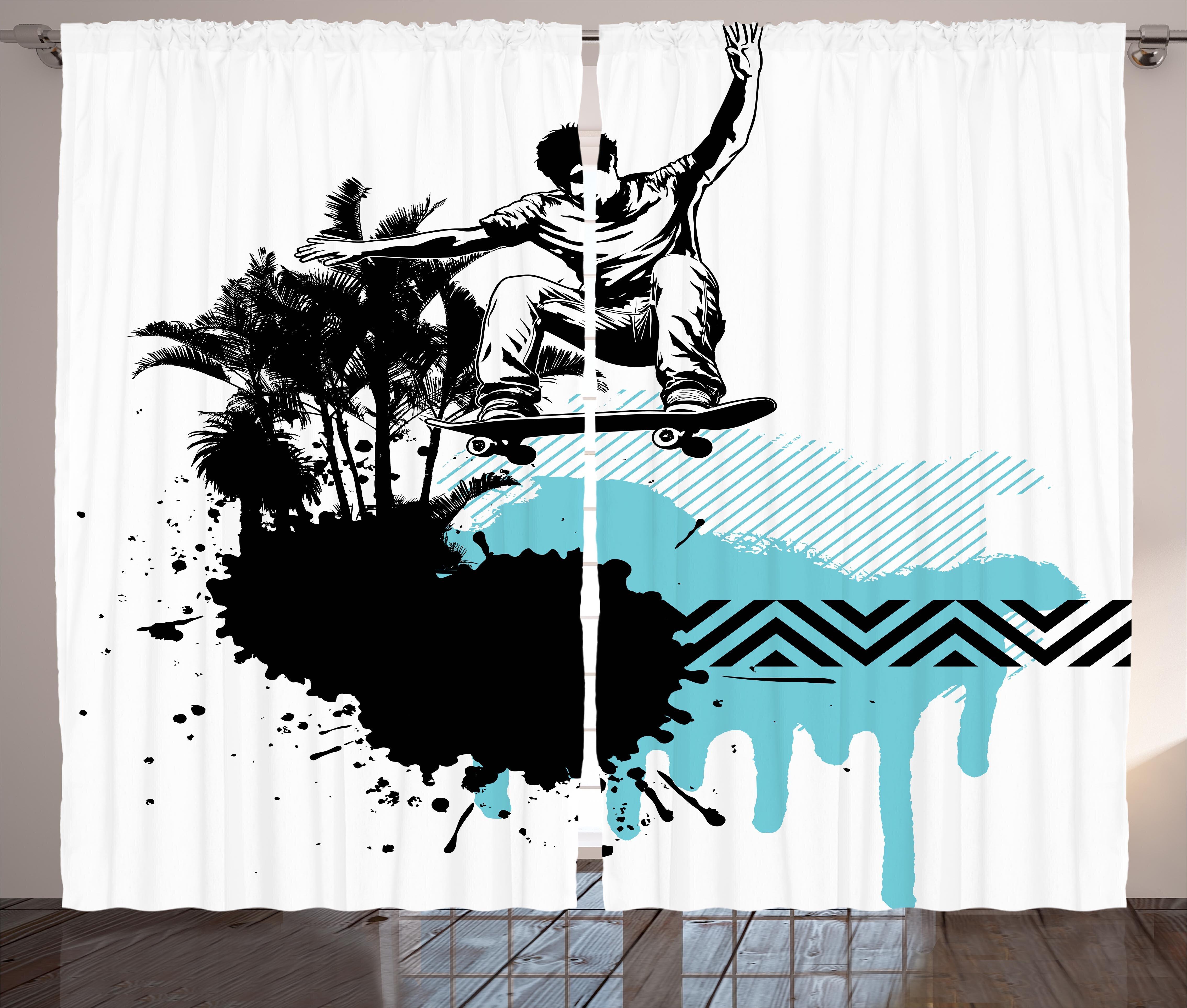 East Urban Home Boy Skater Jumping Graphic Print Room Darkening Rod Pocket Curtain Panels Wayfair