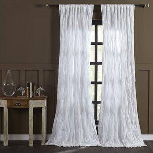 Estella Cotton Voile Solid Sheer Pinch Pleat Single Curtain Panel