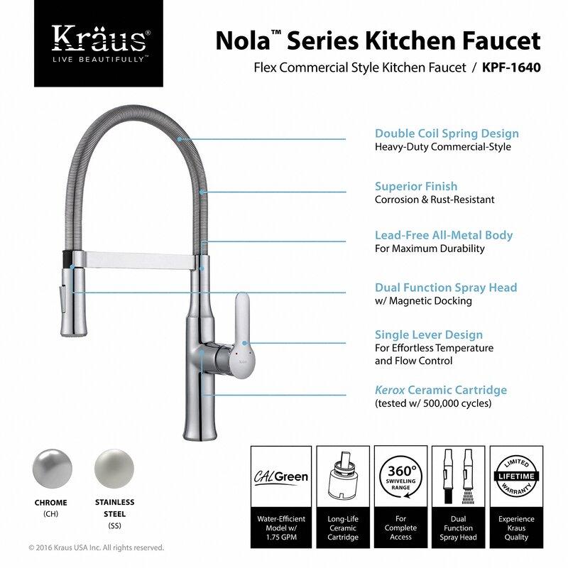 Nola Pull Down Single Handle Kitchen Faucet & Reviews | AllModern