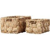 2 Piece Metal/Wicker Basket Set
