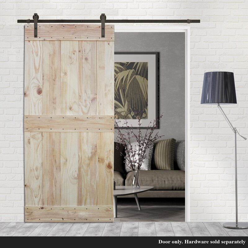 Ordinaire Two Side Mid Bar Solid Wood Paneled Pine Slab Interior Barn Door