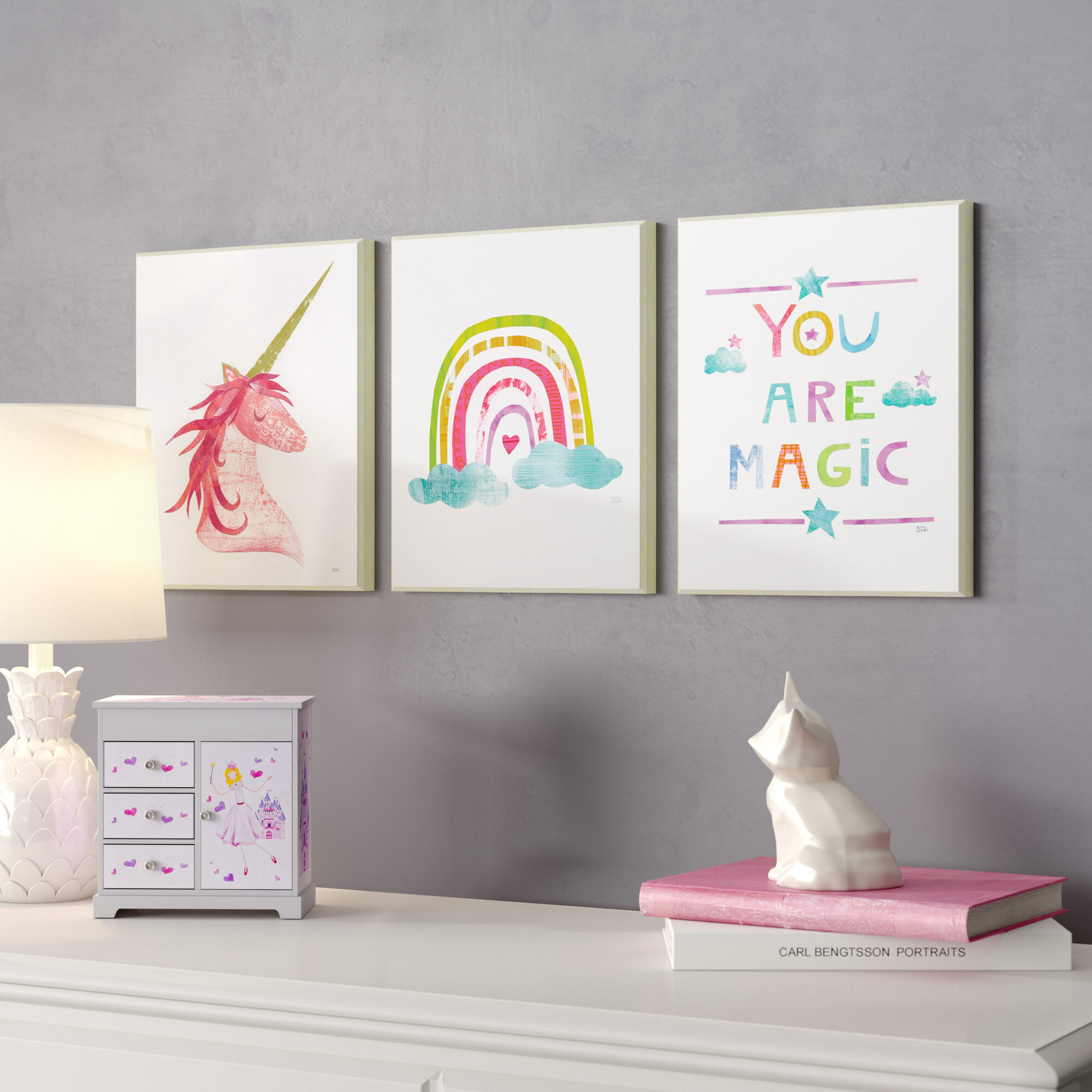 59397a704af Harriet Bee Orly Are Magic Rainbow and Unicorn Decorative Plaque (Set of 3)    Reviews