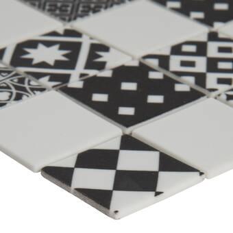 Msi Domino Hexagon 1 X 1 Porcelain Mosaic Tile In Matte Black White Wayfair
