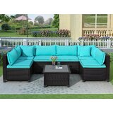 Desilva 7 Piece Rattan Sectional Seating Group with Cushions (Set of 7) by Longshore Tides