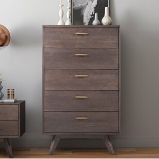 Brayden Studio Dalessio Wooden 5 Drawer Chest