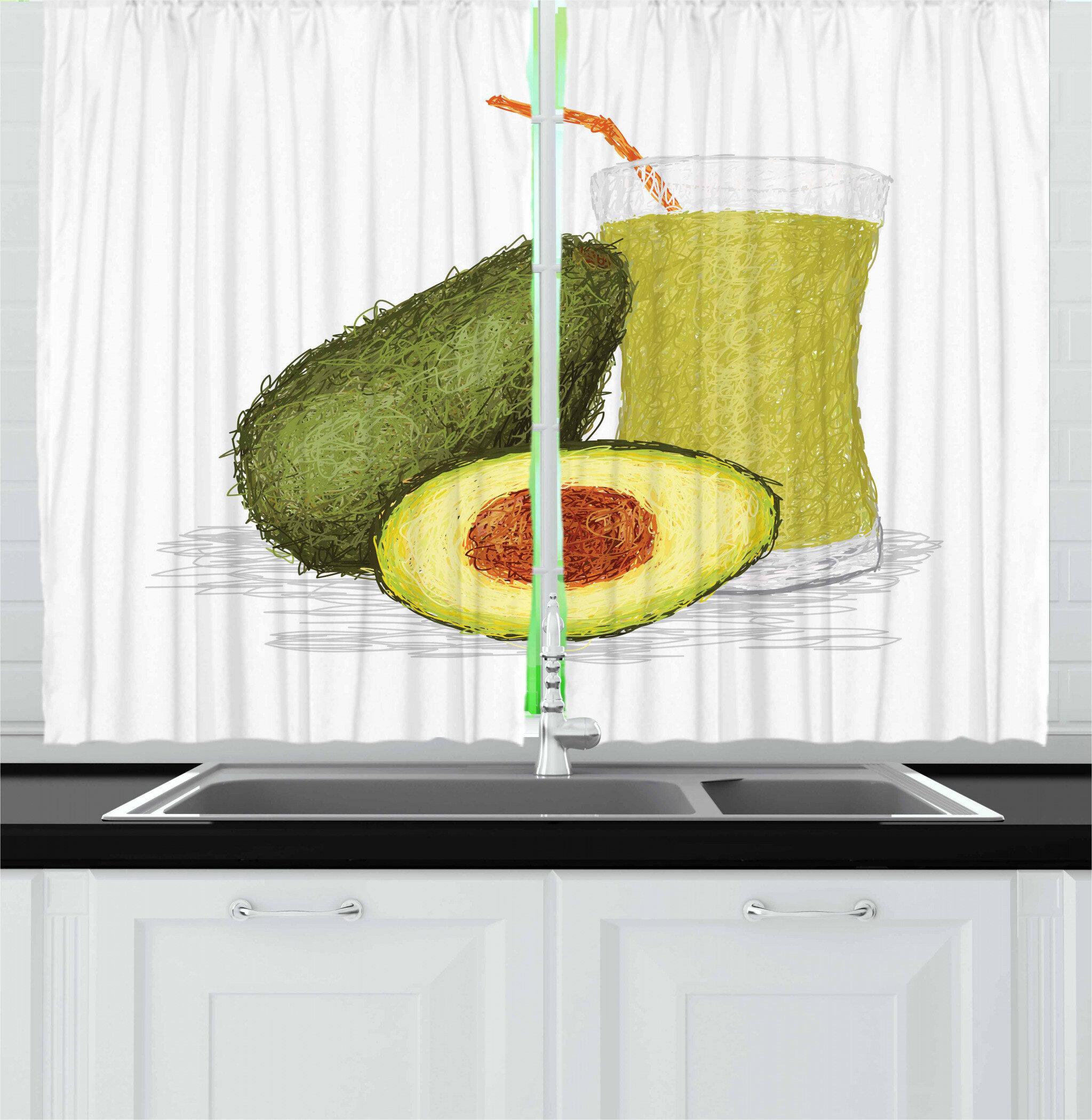 East Urban Home Avocado 2 Piece Kitchen Curtain Set Wayfair