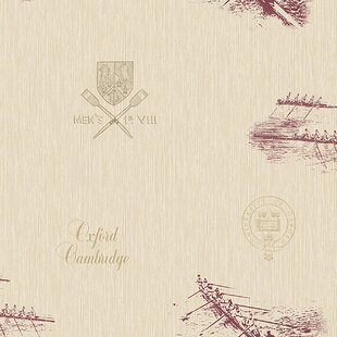 Review University of Oxford Varsity Row Boat 33' x 20.5 Wallpaper Roll by Brewster Home Fashions