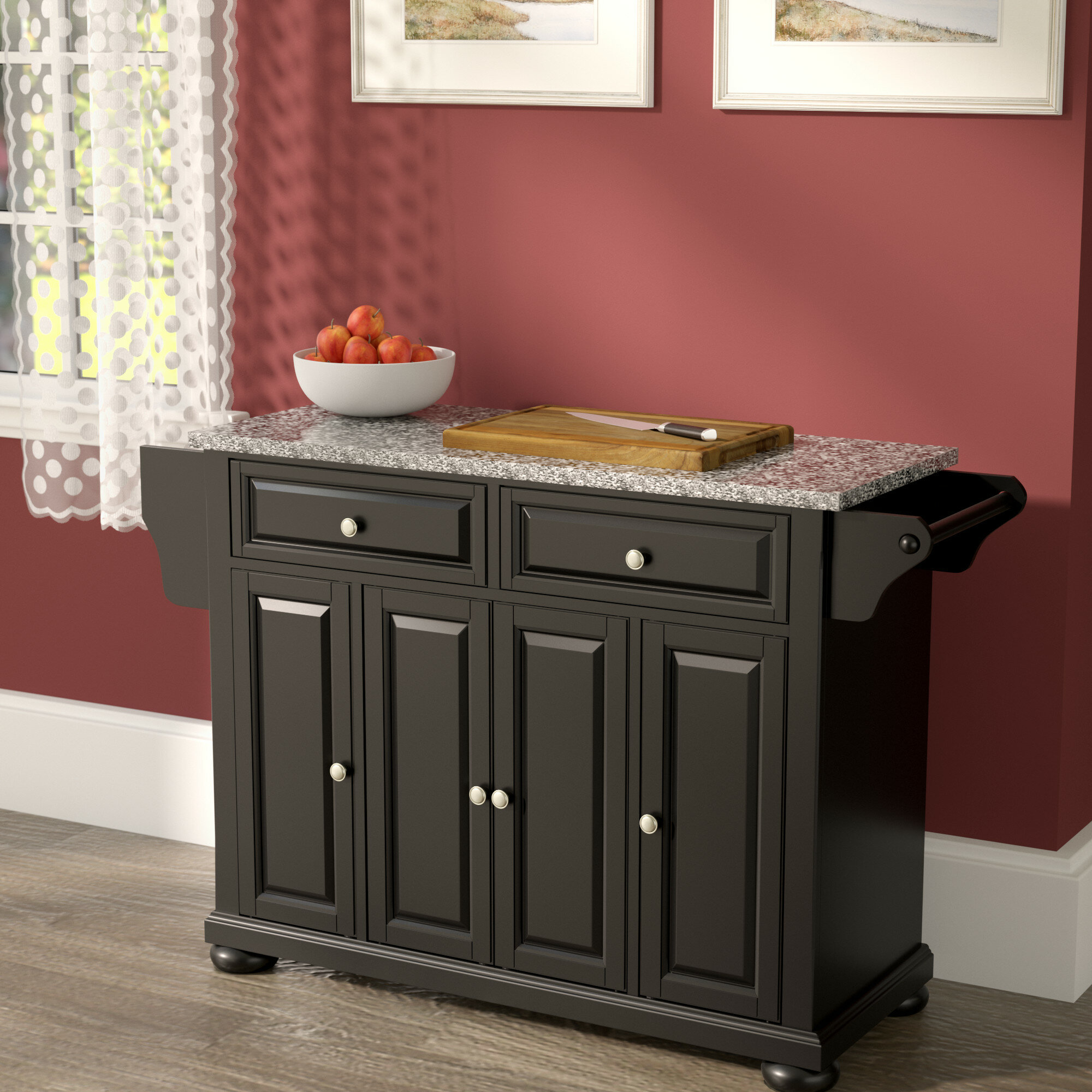 Three Posts Hedon Kitchen Island With Granite Top Reviews