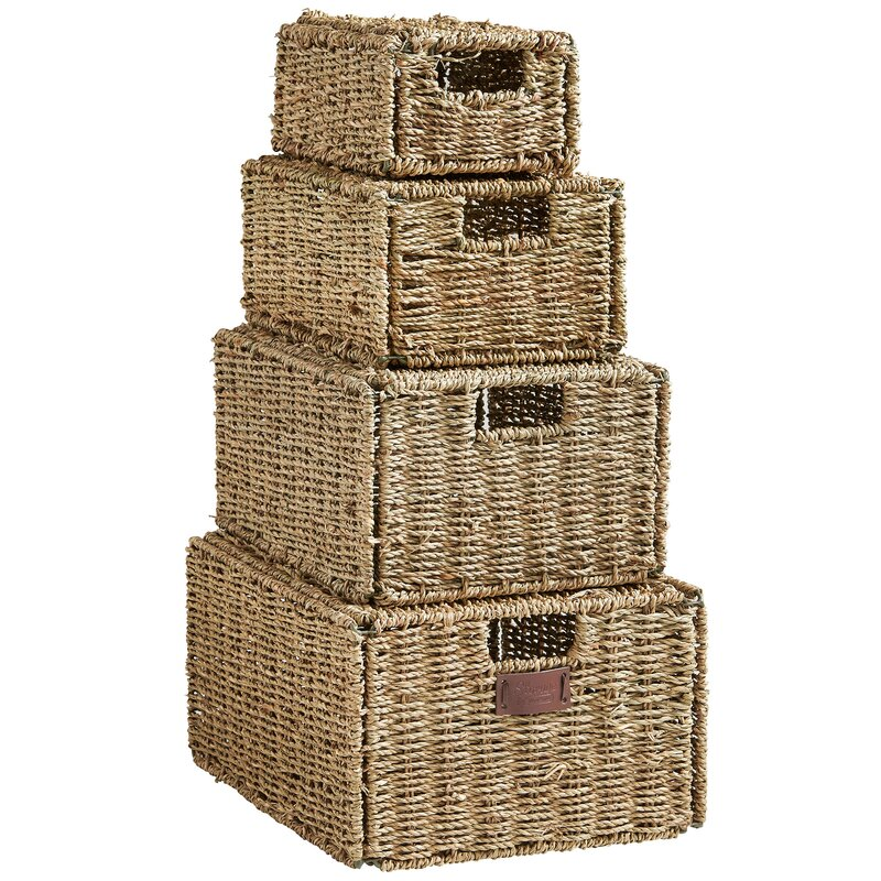 4 Piece Seagrass Storage Basket