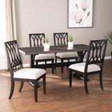 Brantingham Linen Upholstered Solid Wood Cross Back Arm Chair in Black (Set of 2) by Alcott Hill®
