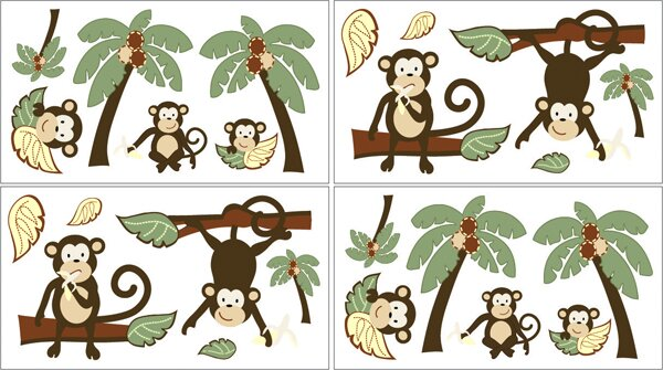 REUSABLE Childrens Monkey Wall Decal EXTRA LARGE