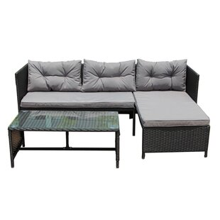 Eleonora Rattan Wicker Indoor/Outdoor Patio Sectional with Cushions