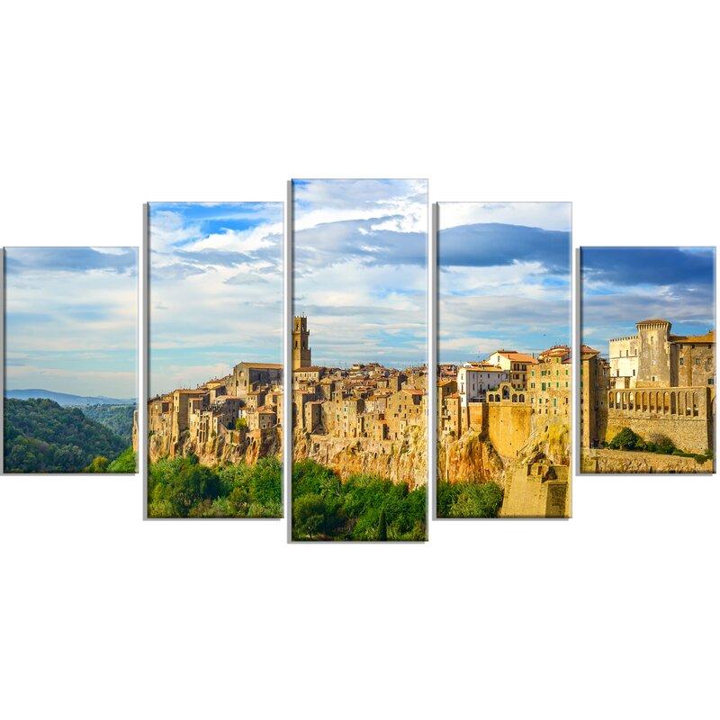 Designart Tuscany Pitigliano Medieval Village 5 Piece Wall Art On Wrapped Canvas Set Wayfair
