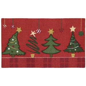 Hanson Christmas Trees Red/Green Area Rug