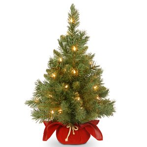 majestic spruce cloth bag tree with 35 battery operated led light - Table Top Christmas Trees
