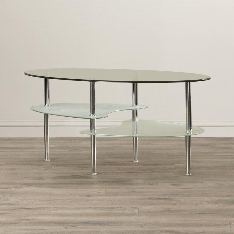 Wade Logan Jean Glass Oval Coffee Table Reviews Wayfair Co Uk