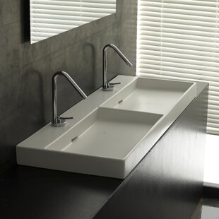 WS Bath Collections Ceramica I Urban Ceramic Ceramic Rectangular Vessel Bathroom Sink with Overflow