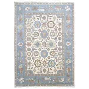Barnabe Oriental Hand-Woven Wool Blue Area Rug