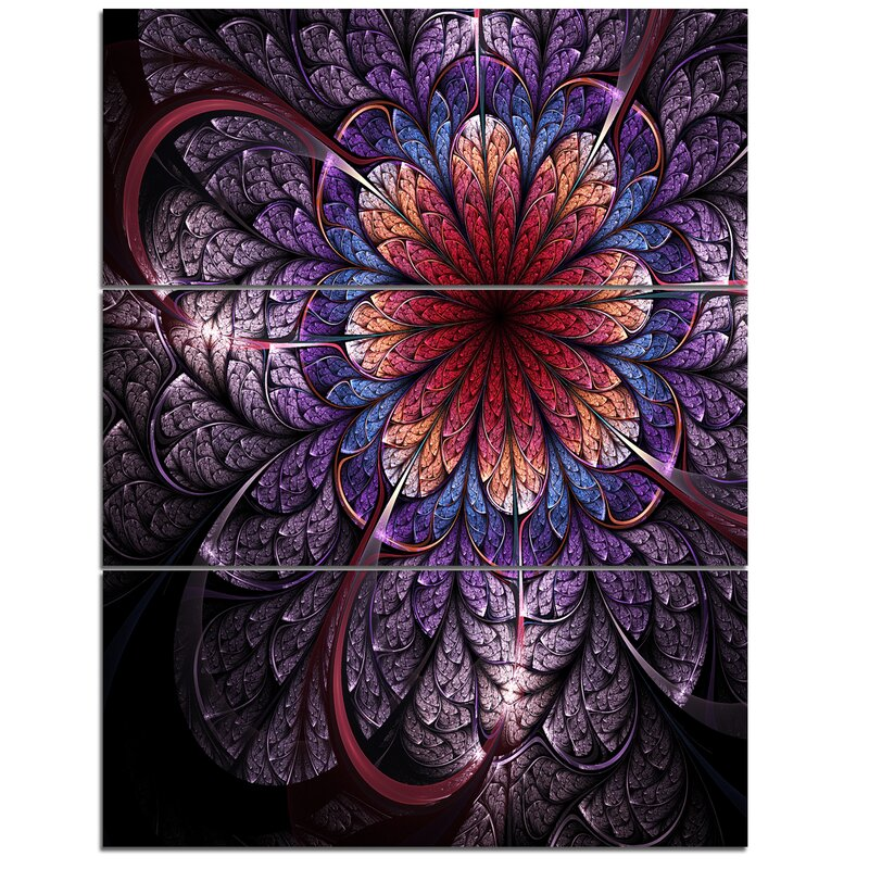Designart Glittering Bright Colorful Fractal Flower 3 Piece Graphic Art On Wrapped Canvas Set Wayfair