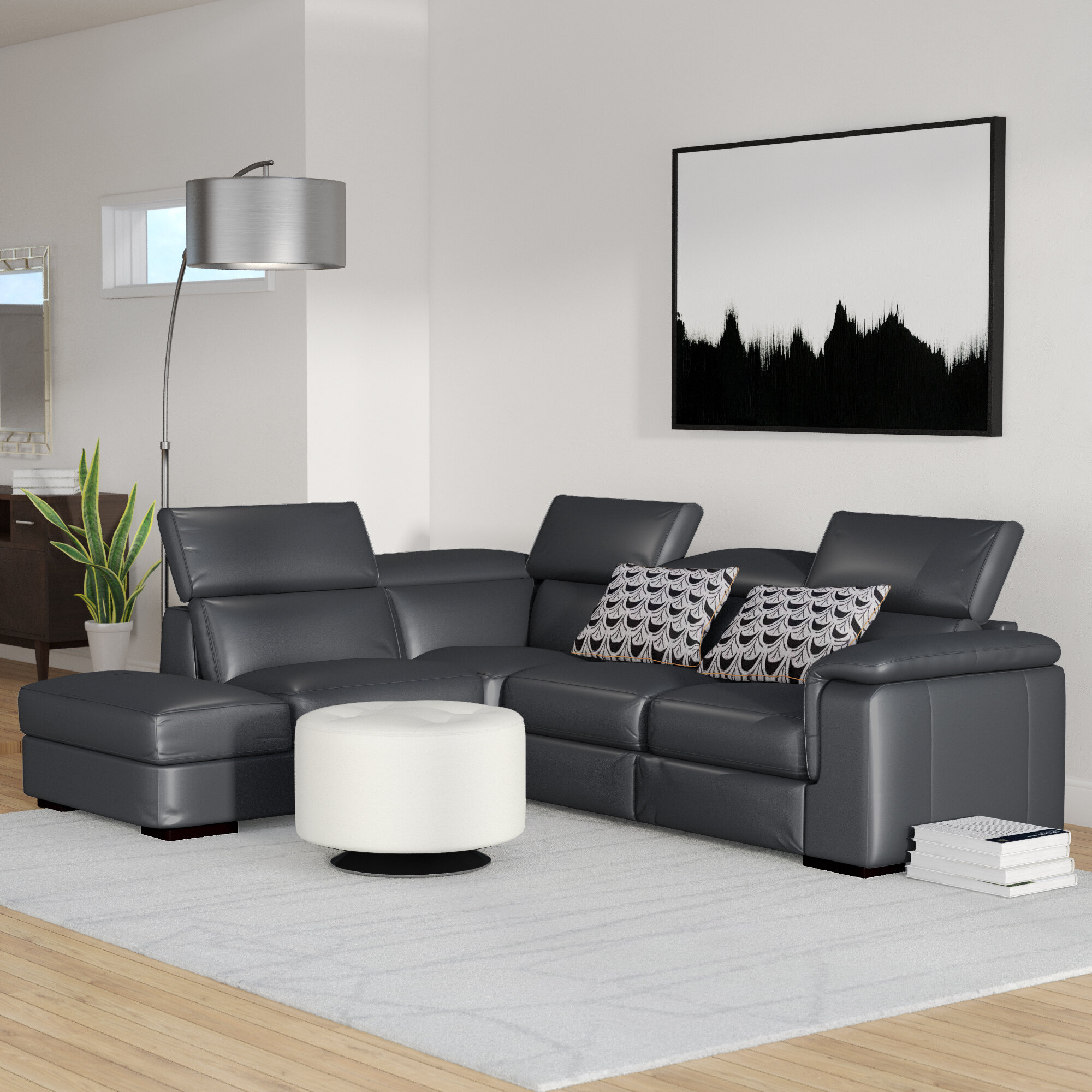 reclining room hudson sectional leather products black rooms sets living square pc