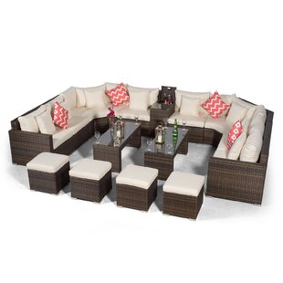 Villasenor Brown Rattan U Shape 8 Seat Sofa With 2 X 2 Stool Coffee Table & Drinks Cooler, Outdoor Patio Garden Furniture By Sol 72 Outdoor