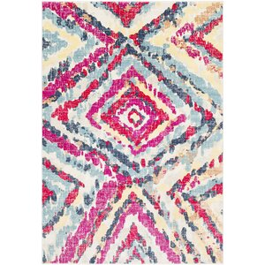 Aule Vibrant Distressed Pink/Bright Red Area Rug