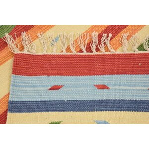 Coco Handmade Kilim Wool Cream Area Rug