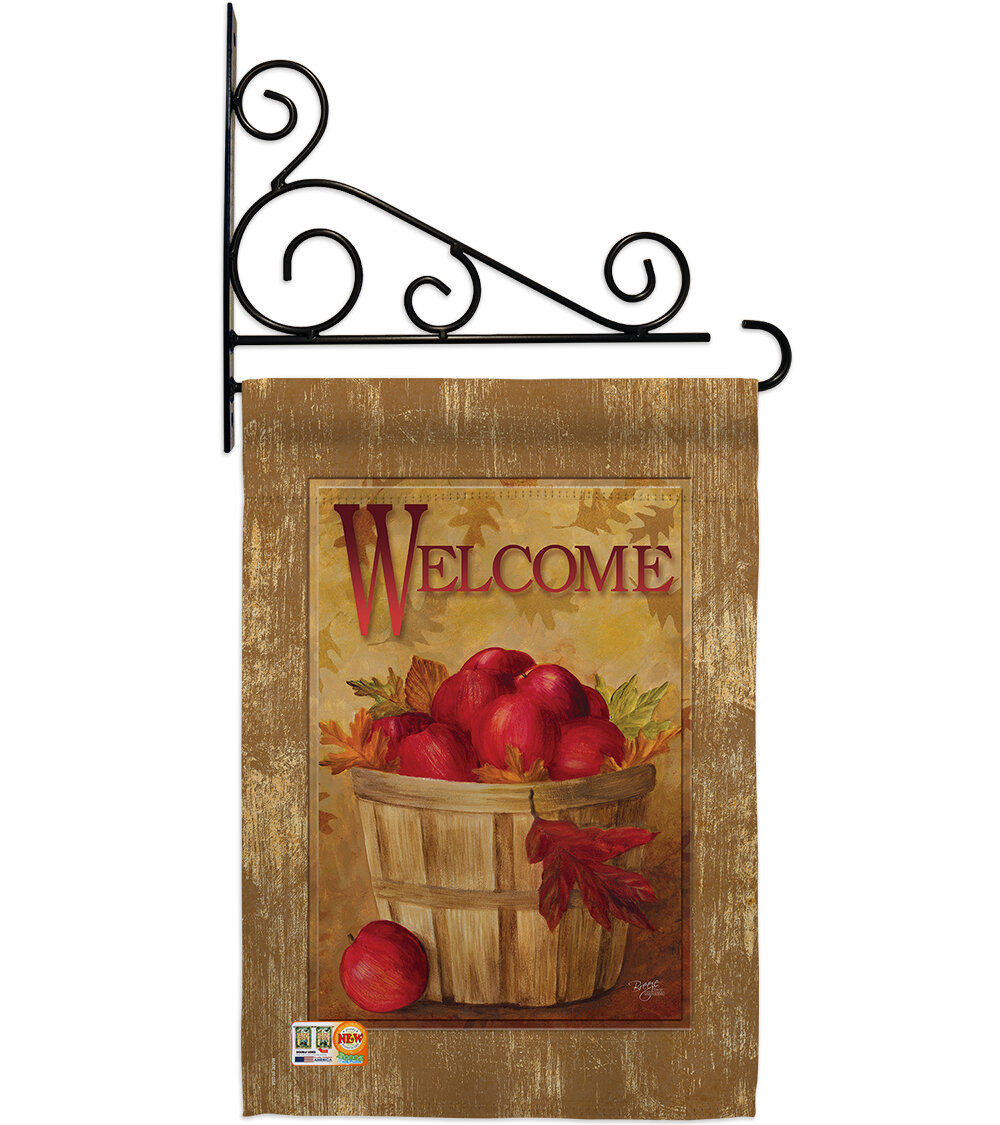 Breeze Decor Welcome Apple Basket 2 Sided Polyester 19 X 13 In Flag Set Wayfair