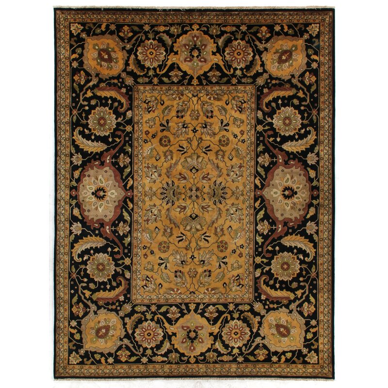 Exquisite Rugs Tabriz Oriental Hand Knotted Wool Black/Brown/Gold